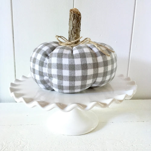 Grey and White Gingham Pumpkin