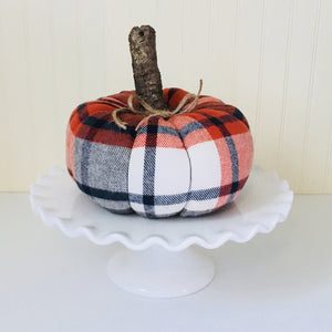 Navy and Orange Plaid Pumpkin