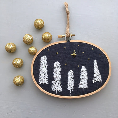 Hand Embroidered Navy and White Christmas Ornament Starry Night