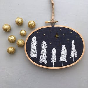 O Holy Night Hand Embroidery Hoop