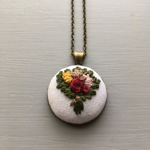 Embroidered Necklace - Mustard Yellow and Crimson Flower Bouquet