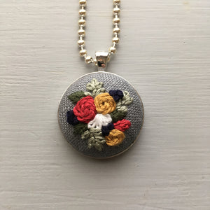 Grey Floral Embroidery Necklace