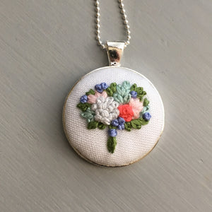 stitched floral necklace