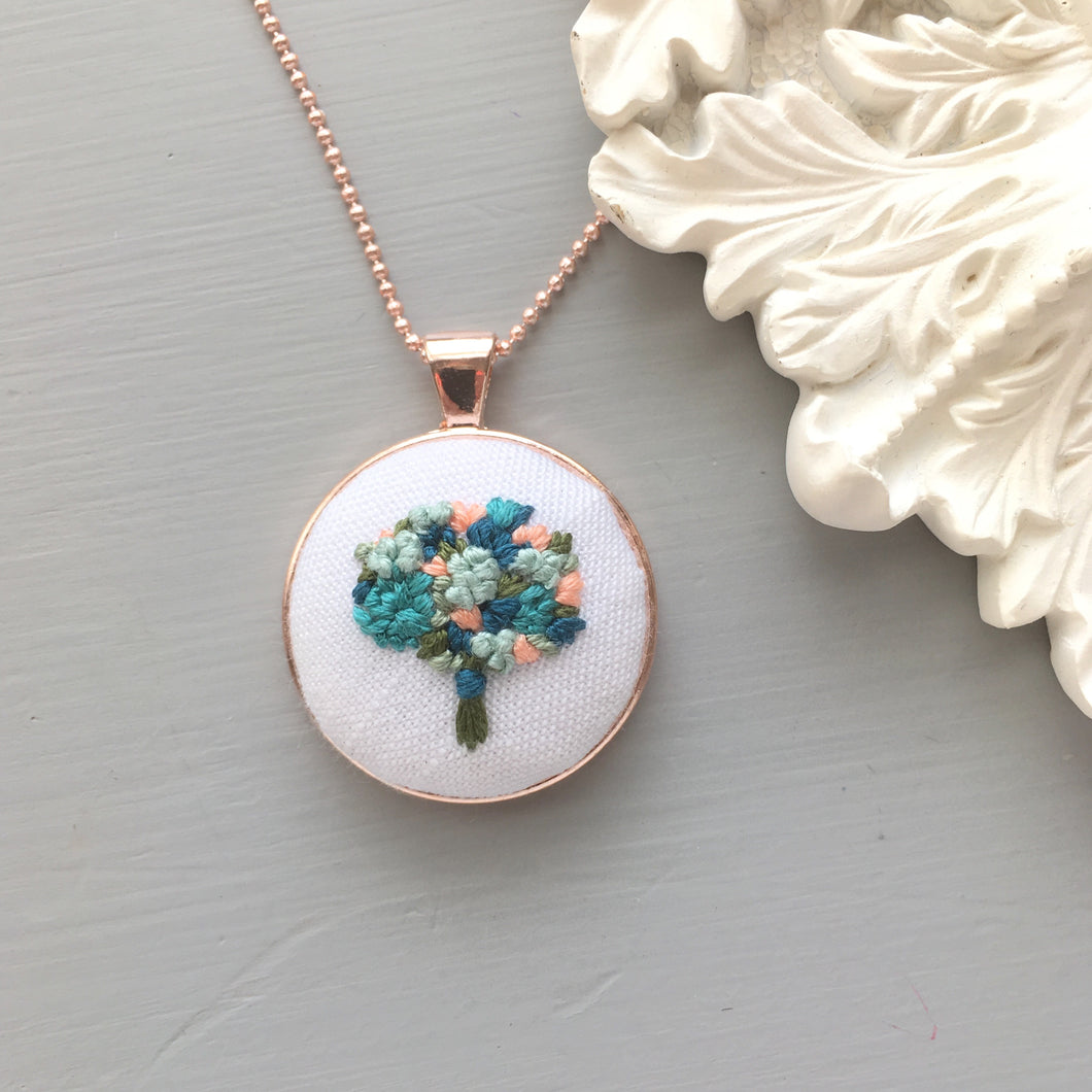 Rose Gold Hand Embroidered Pendant Necklace