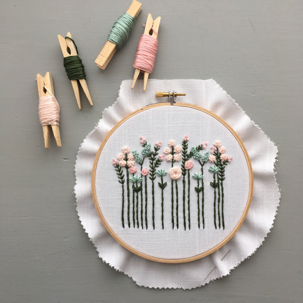 Wildflower Hand Embroidery Kit - Pastels