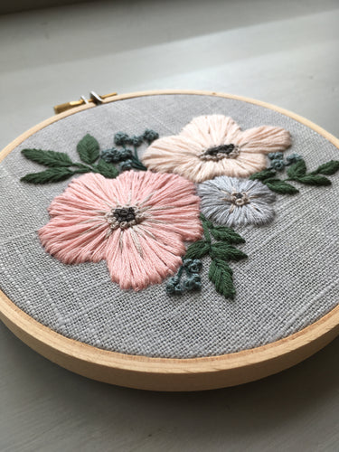 Pastel florals embroidered on grey linen