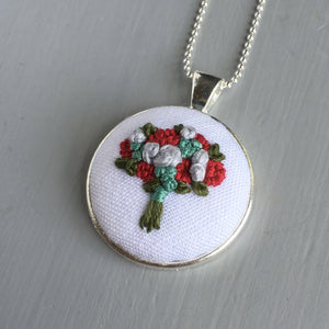 Vintage Inspired Hand Embroidered Bouquet Necklace