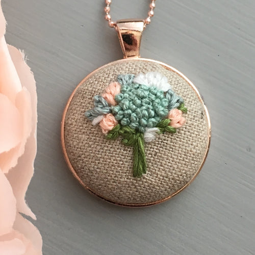 spring floral embroidery necklace