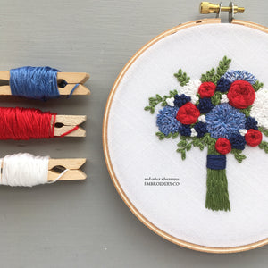 "The Bloom Collection - The ""Americana"" Bouquet Embroidery Pattern"