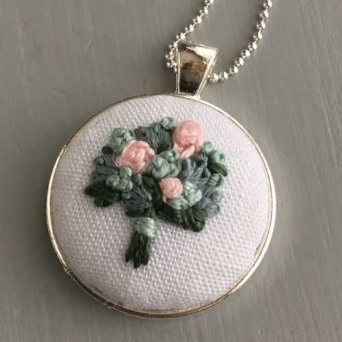 Romantic Pastel Florals Necklace Embroidery
