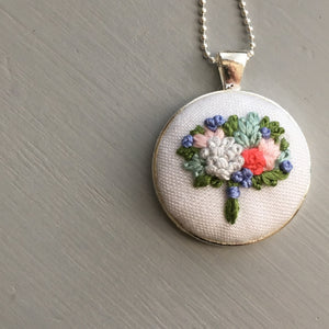 hand stitched flower necklace