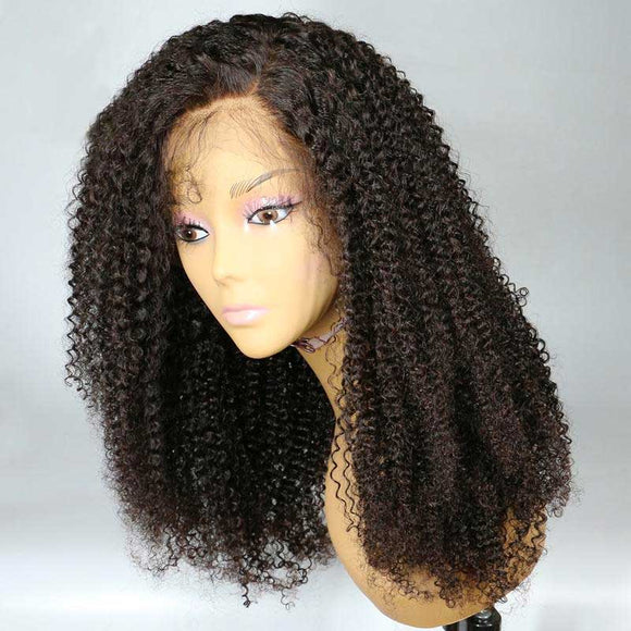 Lace Front Human Hair Wigs For Women Brazilian Afro Kinky Curly Wig Black  Remy Hair 2259bdf60a03