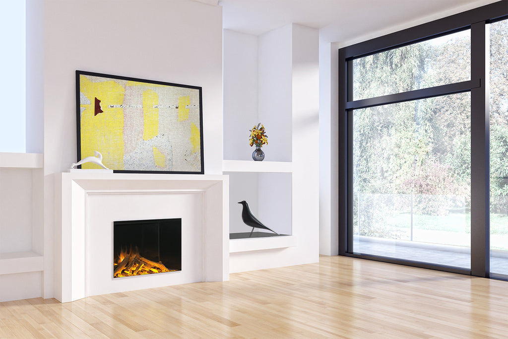 E Series E32 single sided fireplace with evoflame and built-in heater