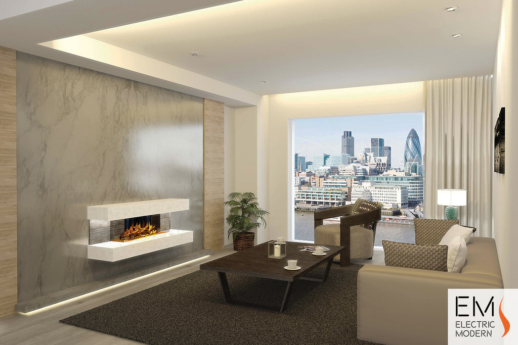 modern linear electric fireplace with mantel for any space