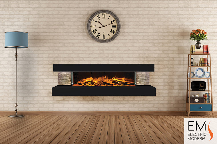 Compton 1000: Electric Fireplace Suite (Black)