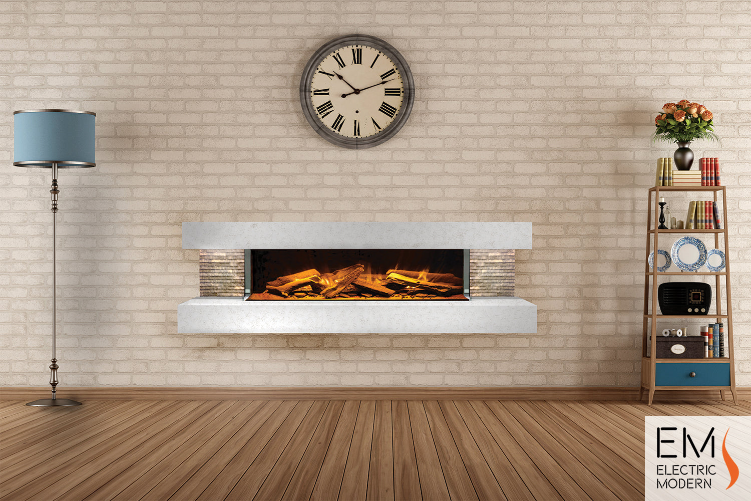 Compton 1000: Electric Fireplace Suite (White Stone)