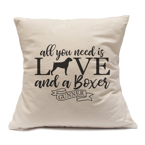 All You Need Is Love And A Boxer - Pillow