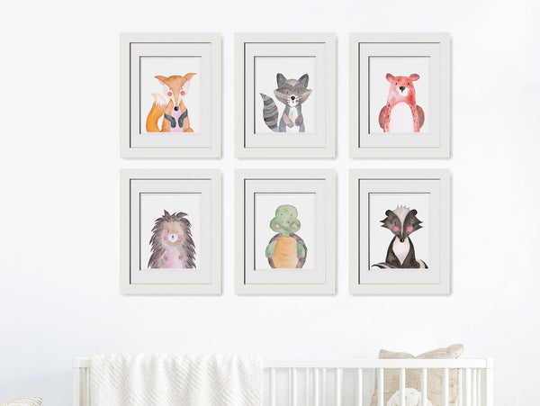 Forest Animals Set of 6 - Watercolor Print