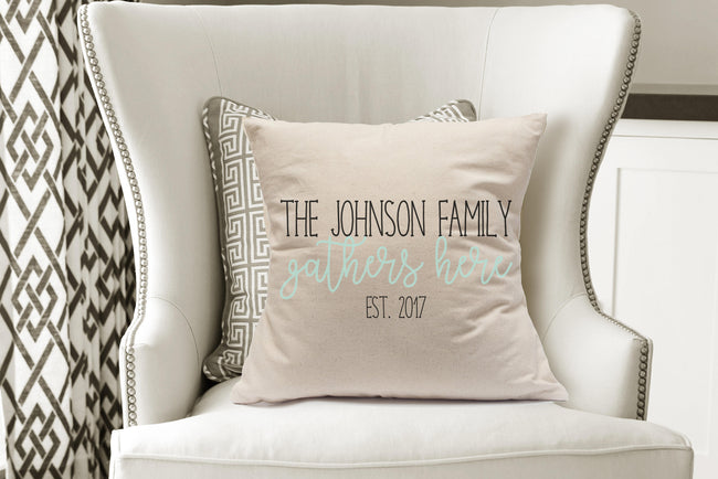Family Gathers Here|Family Established Pillow|Family Pillow Gifts Under 40|Personalized Wedding Gifts 2018|15th Anniversary|5th Anniversary