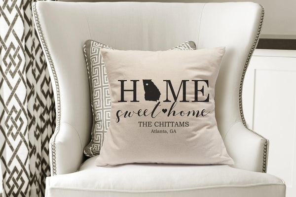 Home Sweet Home Pillow Cover|Modern Farmhouse Pillow|State Pillow Covers|Throw Pillow State|Family Name Pillow|Custom State Pillows Gift