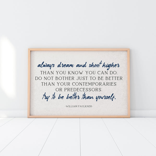 Always Dream And Shoot Higher|e e Cummings|Poster Print|Quote Prints|Extra Large Wall Art|Bookish Gifts|21st Birthday Gift|Literary Gifts