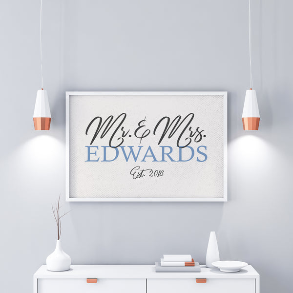 Family Name Sign|Established Sign|Wedding Gift For Couple|Mr And Mrs Poster|Personalized Gift|Family Name Print|Anniversary Gift For Parents