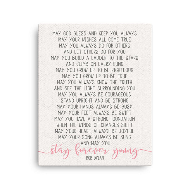 Forever Young Canvas|Baby Shower Girl Gift For Twin Girls|Wedding Lyrics|Poem For Goddaughter|Gift From Aunt|Nursery Decor