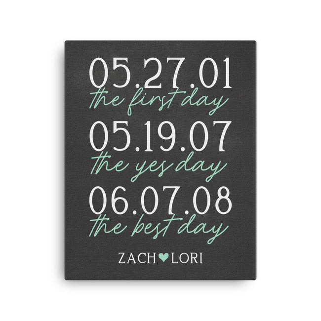 First Day|Best Day|Yes Day Canvas|1st Anniversary Gift|Important Dates|Wedding Gift For Parents Anniversary Print|50th Anniversary|10th