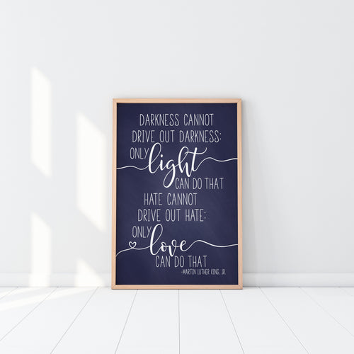 Darkness Cannot Drive Out Darkness|Only Light Can Do That|Hate Cannot Drive Out Hate|Only Love|Baptism Gift Boy|MLK Quote|Civil Right Speech