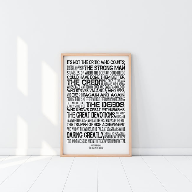 Man In The Arena Poster|Theodore Roosevelt Quote|Office Decor For Him|Dad Christmas Gift For Boss|Man Cave Print|Gift For Dad From Daughter