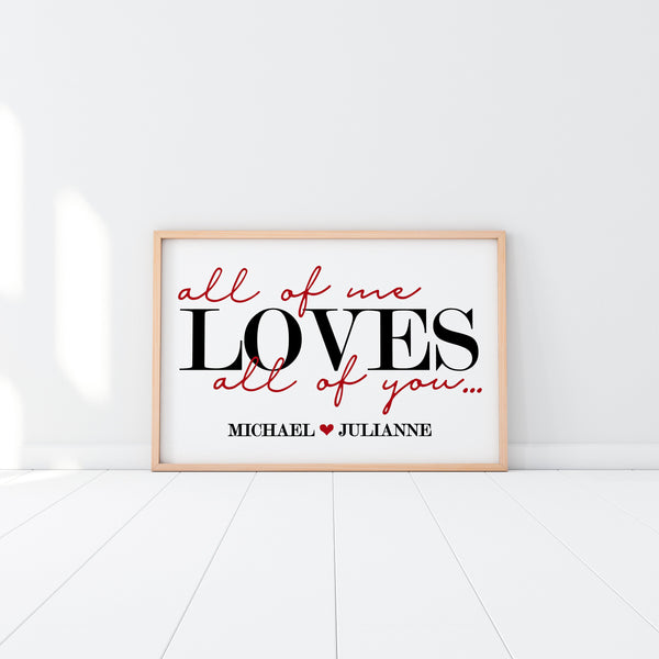 All Of Me Loves All Of You|Wife Christmas Gift|Anniversary Gifts For Her|Bride Gift For Wife|Extra Large Wall Art|Over The Bed|Bedroom Decor