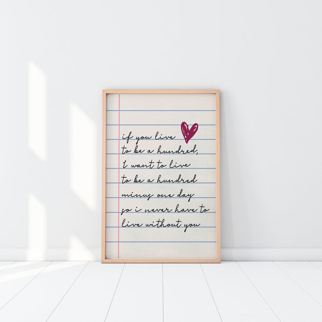 If You Live To Be 100|Live To Be A Hundred|Literary Gifts For Girlfriend|1st Anniversary Gift For Wife|Gay Wedding Gift For Couple|Baptism