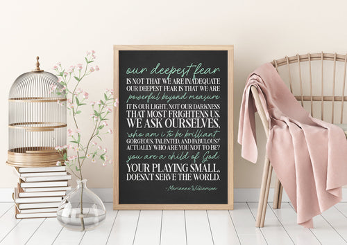 Our Deepest Fear Quote|Graduation Gift|Motivational Poster|College Student Gift|Famous Speech Women|Child Of God|Basketball Quotes|LDS Gifts