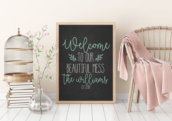 Welcome To Our Beautiful Mess|Personalized Name Sign|Housewarming Gift For Wedding Gift For Mom|Christmas Gift For Wife|Bless This Mess Gift