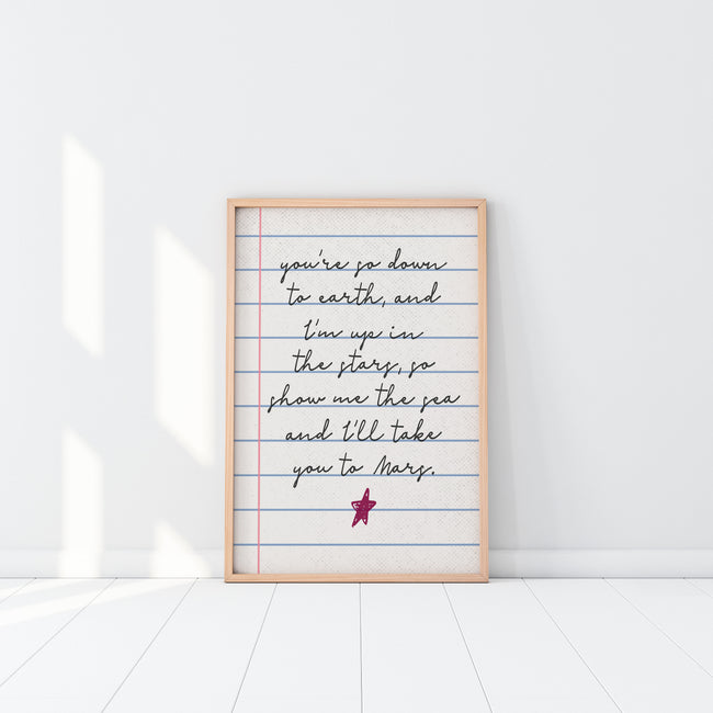 You're So Down To Earth|Show Me The Sea|I'll Take You To Mars|Wedding Poem|Gender Neutral Nursery|Wedding Gift For Couples|Gay Marriage Gift