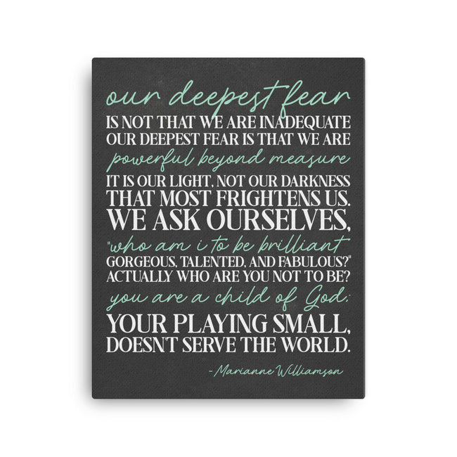 Our Deepest Fear|Quote On Canvas Print|Gift For Boss Mentor Teacher Quotes|Woman Office Decor|Gift For Female Boss Lady|Cubicle Wall Art