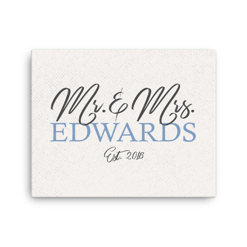 Mr and Mrs Canvas, Wedding Gift For Newlywed, Wedding Decor, Bedroom Decor, Housewarming Gift, Wedding Reception Decor For Wedding Signage