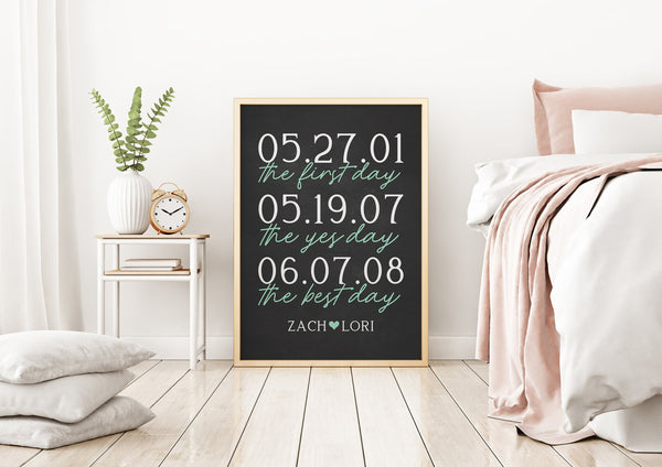 First Day Yes Day Best Day Print - Personalized Engagement Gift With Dates - Anniversary Gift For Parents