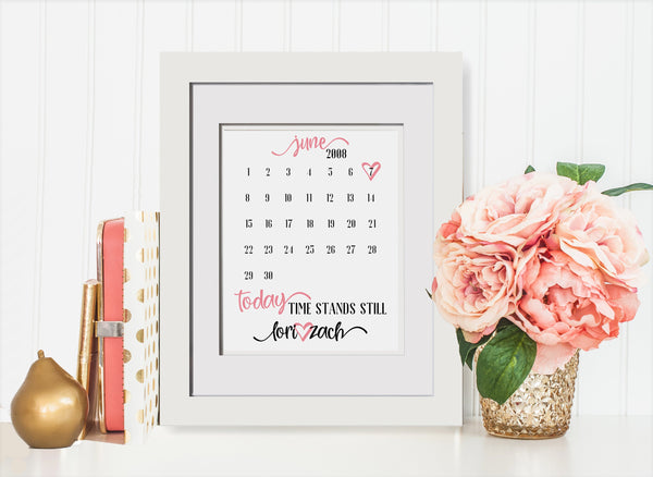 Remember The Date Calendar Heart Print - Wedding Gift for Couple