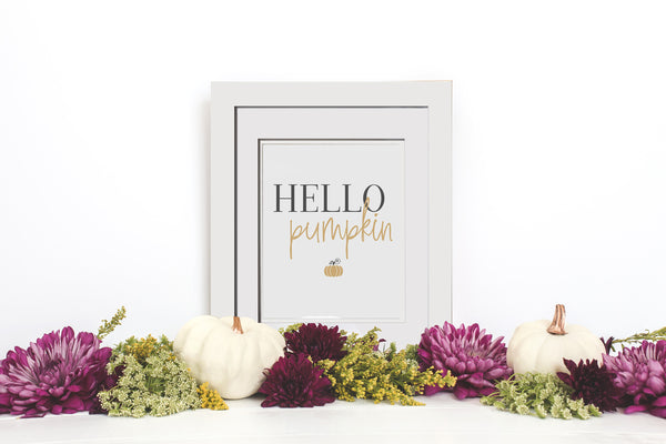 Hello Pumpkin Fall Decor - Framed Fall Print