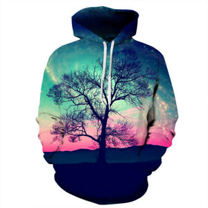 Neon Sky Tree Mens Womens Hooded Sweatshirt