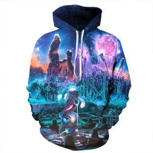 Colorful Nebula Space Mens Womens Hooded Sweatshirt