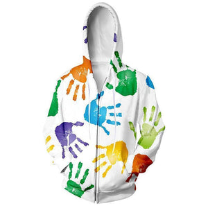 Colorful Hands Art Mens Womens Hooded Sweatshirt