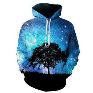 Blue Space Tree Mens Womens Hooded Sweatshirt
