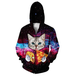 Pizza Taco Cat Mens Womens Hooded Sweatshirt