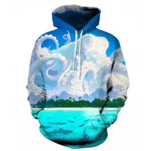 Squid Cloud Ocean Beach Mens Womens Hooded Sweatshirt