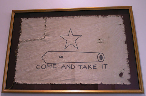 "Molon Labe Gonzales Flag - The text says ""Come and Take it!"""