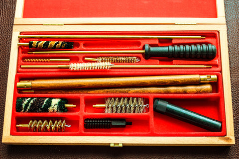 Gun Cleaning Kit In Red Foam And Wooden Box