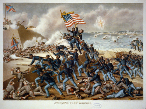 Storming Fort Wagner, an 1890 print showing U.S. soldiers attacking the Confederates at the fort.