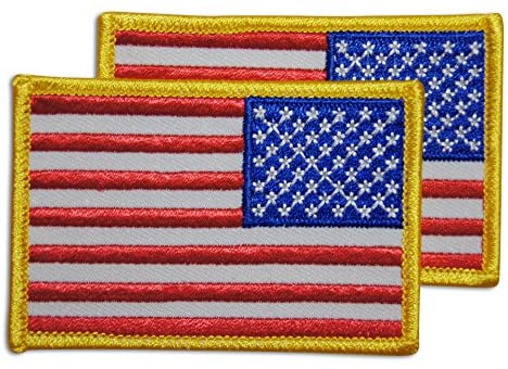 Two backwards American Flag Patches